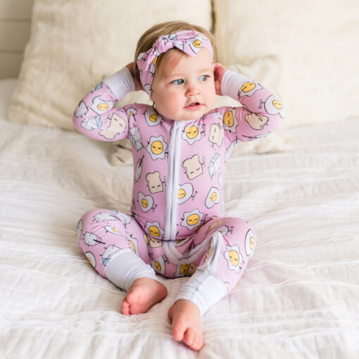 Little Sleepies Pink Breakfast Buddies Bamboo Viscose Zippy Sleeper