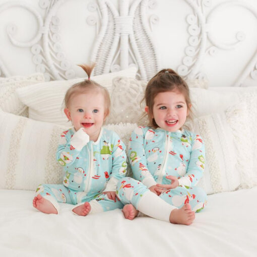 Little Sleepies Snowman Zippy Sleeper in Bamboo Viscose Convertible Romper