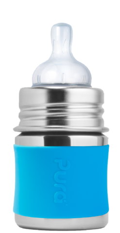 Pura Kiki 5 oz Aqua Stainless Steel Baby Bottle