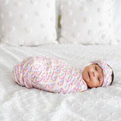 Little Sleepies Pastel Rainbow Bamboo Swaddle & Headband Set