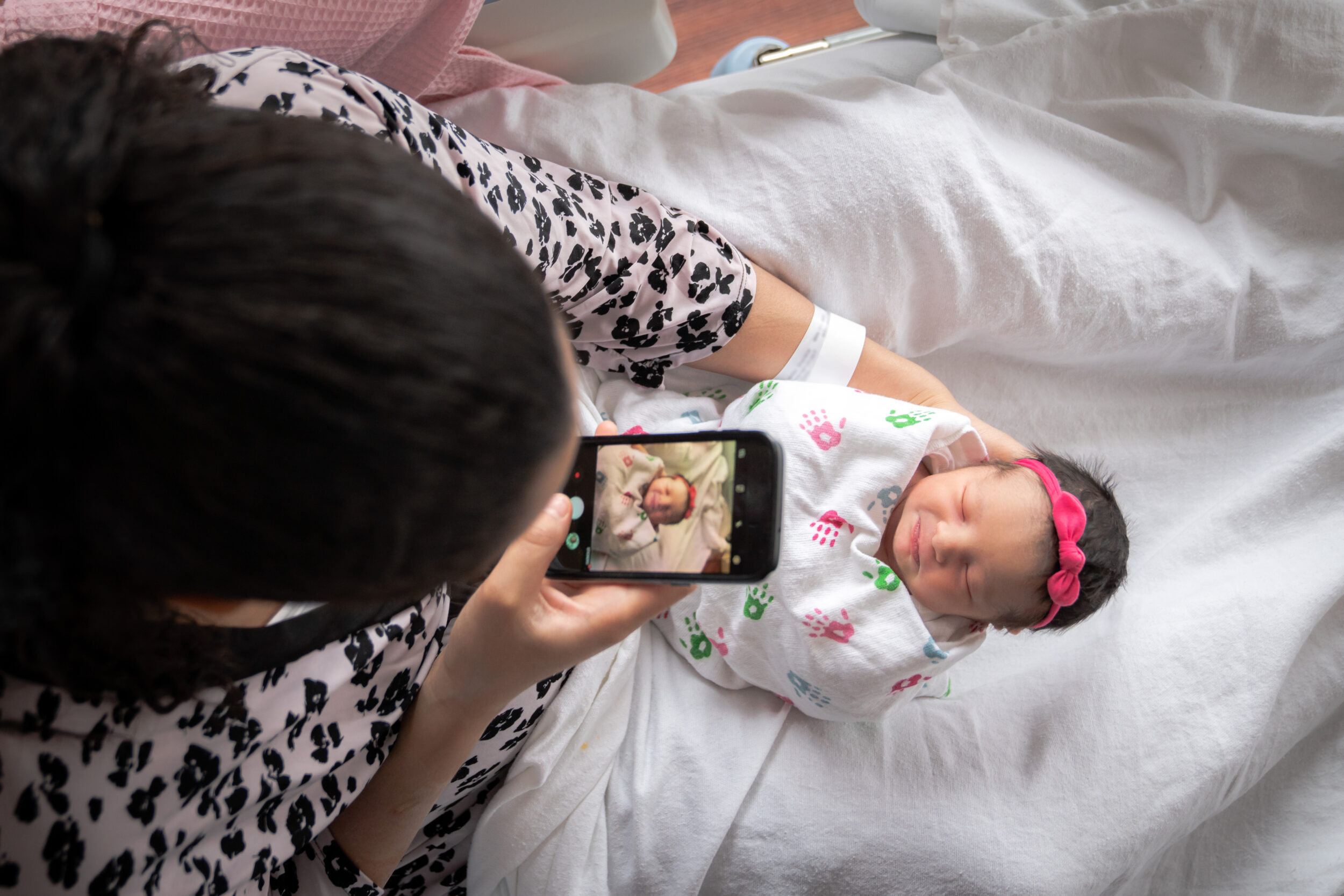 Taking pictures of new baby