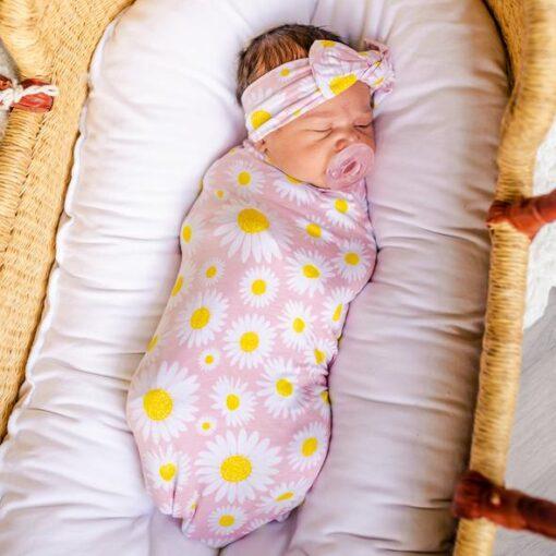 Little Sleepies Daisies Bamboo Swaddle Set with Headband