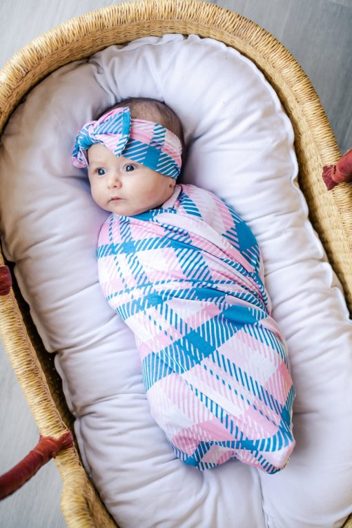 Rosy Plaid Little Sleepies Swaddle Set