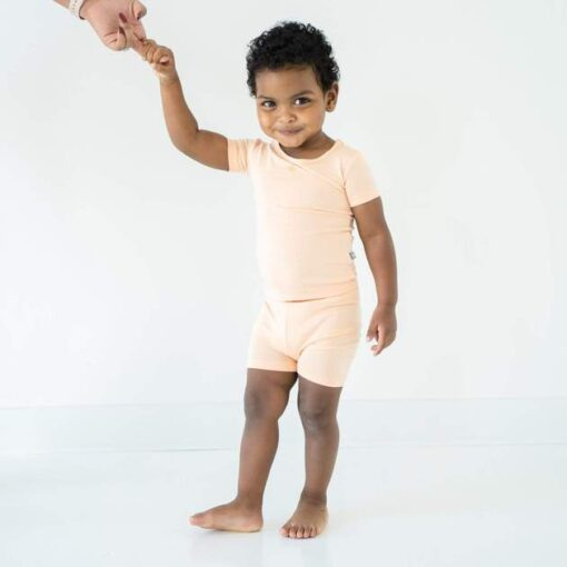 Bamboo Short Sleeve Pajama Set in Papaya Solid Color from Kyte
