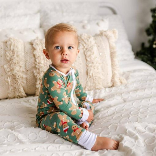 Little Sleepies Holiday 2020 Green Gingerbread Print