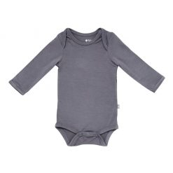 Kyte BABY Long Sleeve Bodysuit in Charcoal