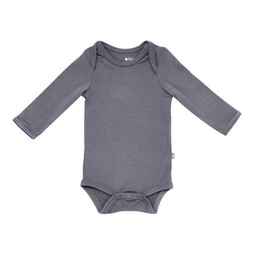 Kyte BABY Long Sleeve Bodysuit in Charcoal