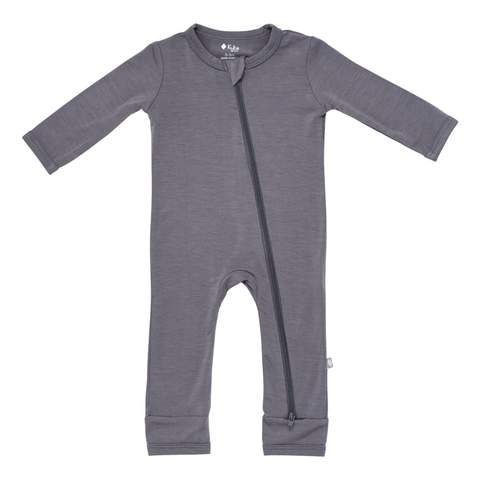 Kyte BABY Zippered Romper in Charcoal