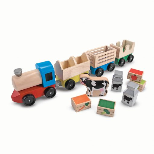Wooden Farm Train Toy SetWooden Farm Train Toy Set