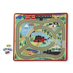 Town map laid out rug for kids