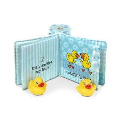 Waterproof book with toy ducks