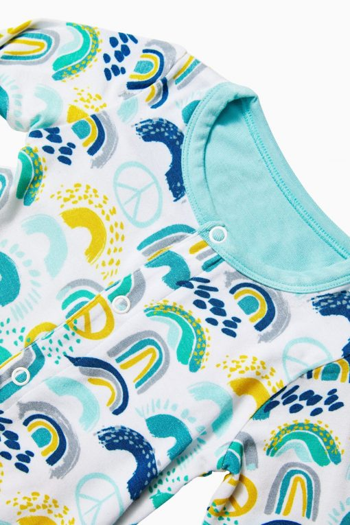 Blue Footies with Rainbow Pattern