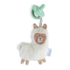 Silicone pacifier with fuzzy llama lovey