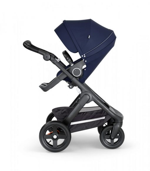 Stokke Trailz Navy Blue Stroller with Black Chassis and Black Handle