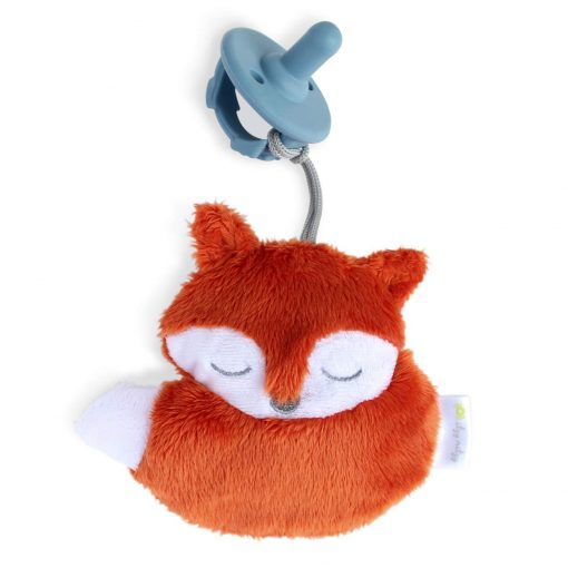 Silicone pacifier with a fuzzy fox friend similar to a wubbanub