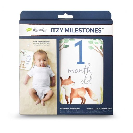 Milestone cards for month-to-month baby pictures with a popular woodland theme