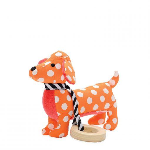 Orange puppy rattle