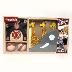 BeginAgain Toys Wooden Safari Bowling Game