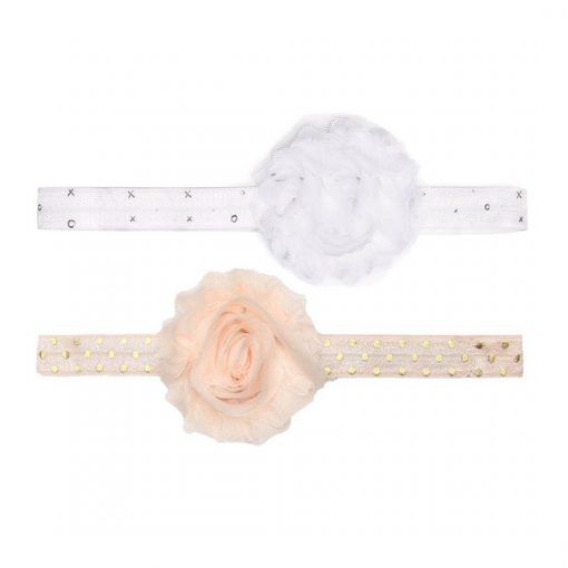 Banded Ditsy Dots 2 Pack Chiffon Floral Headband One Blush with Gold Dots and One White with X's and O's