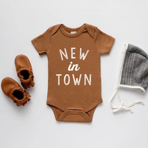 New In Town Onesie in Camel sizes 0 - 12 months
