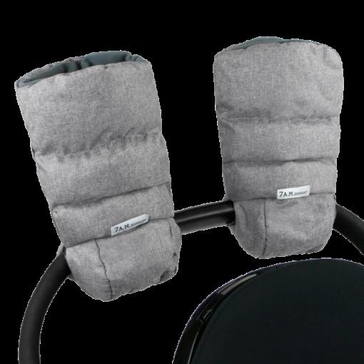 7AM Enfant Warmmuffs Mittens in Heather Grey to attach to stroller and keep parents hands warm