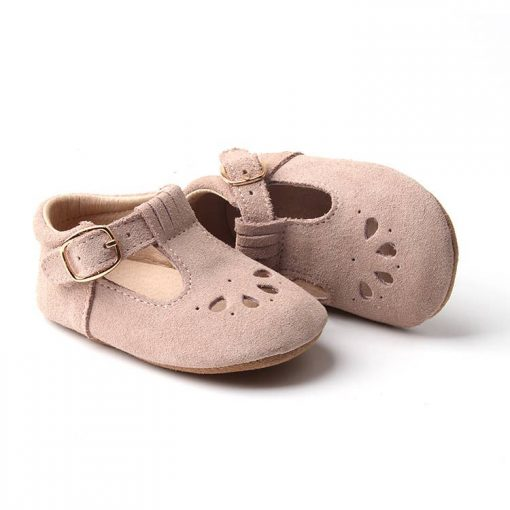 Consciously Baby Suede Petal T-Bar Shoes in Dusty Rose