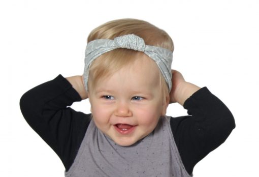 Grey Baby Headband with Knotted Front and White Floral Pattern