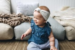White Baby Headband with Black X's and O's Pattern