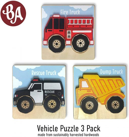 BeginAgain Vehicles Puzzles 3-Pack