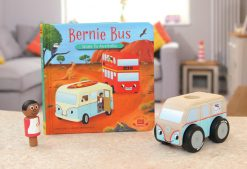Bernie Bus Goes to Australia Board Book pictured with Mini Colin Campervan