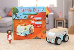 Bernie Bus Goes to Australia Board Book pictured with Mini Colin Campervan
