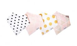Copper Pearl Blush Baby Bandana Bib Set 4-Pack