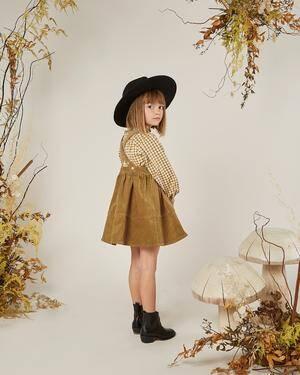 Pinafore Dress in Goldenrod Corduroy by Rylee & Cru