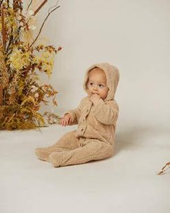 Rylee & Cru Buttoned Oat Colored Children and Baby Bear Suit
