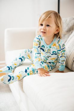Clover Baby and Kids Blue Rainbow Footie