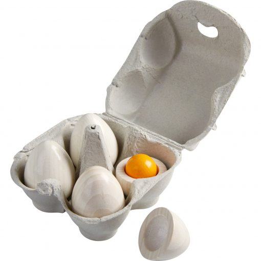 Wooden Eggs with Removable Yolks