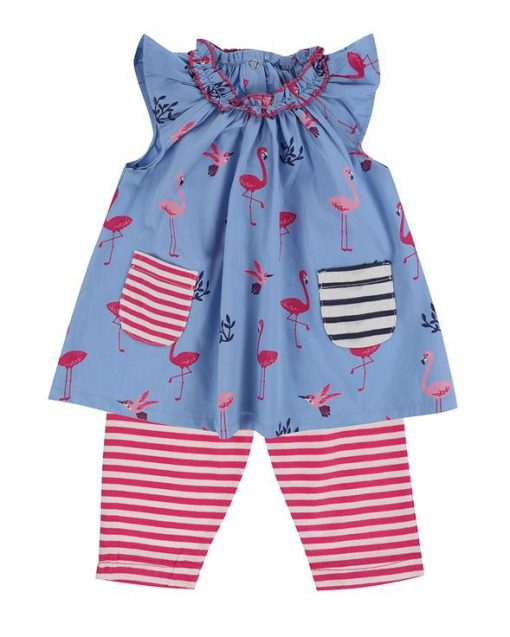Lilly and Sid Flamingo Dress and Leggings Outfit Set