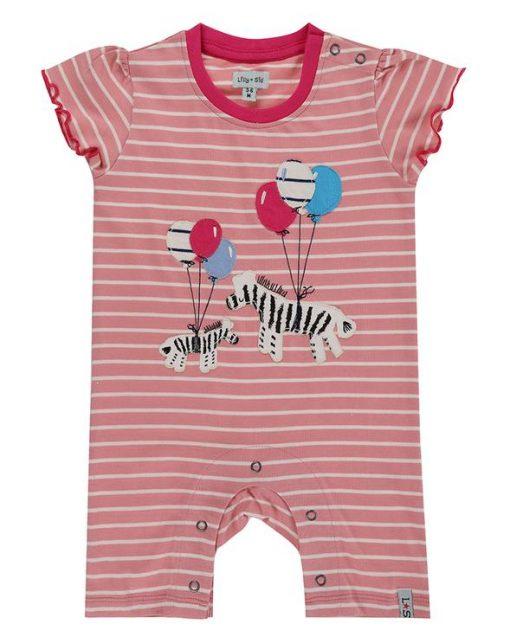 Pink Stripe Zebra Romper Lilly and Sid