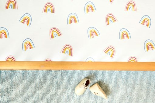 Pehr Organic Sheet Brushed Cotton with Rainbow Pattern