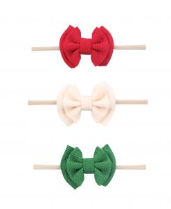Emerson and Friends Holiday Waffle Bow Headband Set