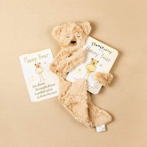 Slumberkins Honey Bear Snuggler with Board Book and Afirmation Card