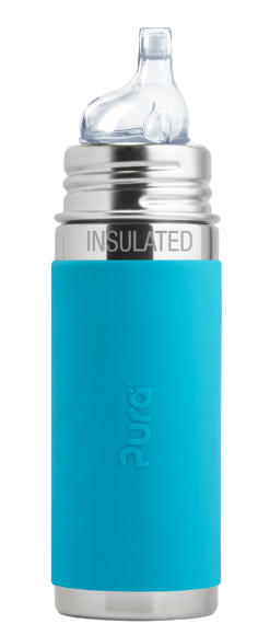 Insulated Pura Kiki Stainless Steel Sippy Bottle for Babies and Toddlers in Aqua