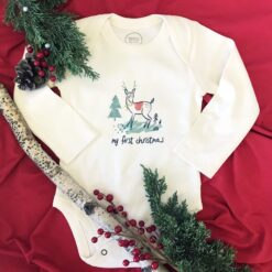 finn + emma My First Christmas Reindeer Long Sleeve Graphic Bodysuit