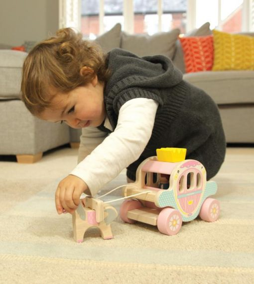 Wooden Children's Toy Interactive Princess and Prince Carriage
