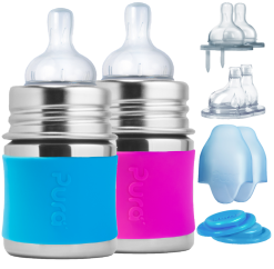 Stainless Steel Baby Bottle Starter Set by Pura with Extra Nipples