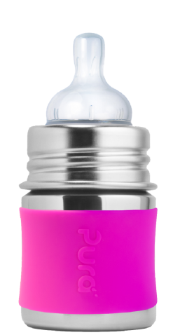 Plastic-free Baby Bottle Pura Stainless Steel Infant Bottle in Pink