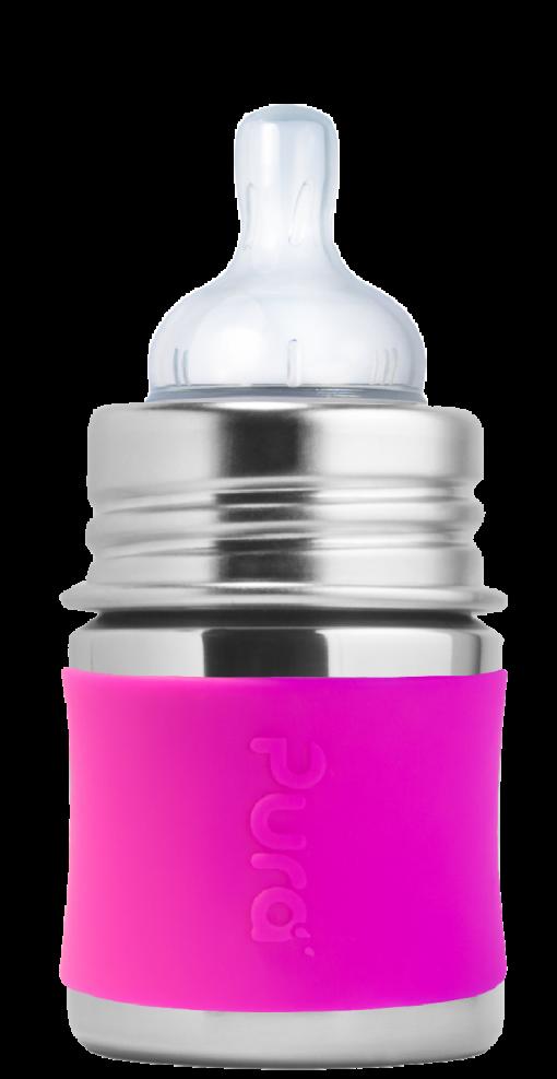 Plastic-free Baby Bottle Pura Stainless Steel Infant Bottle in Pink