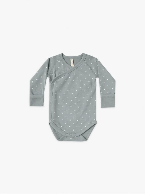 Quincy Mae Kimono Onesie Ocean with an allover criss cross pattern