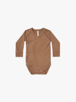 Quincy Mae Kimono Long-Sleeve Onesie in Rust