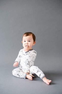 Limited Edition Charcoal Marble Kyte Zippered Romper Baby Pajamas